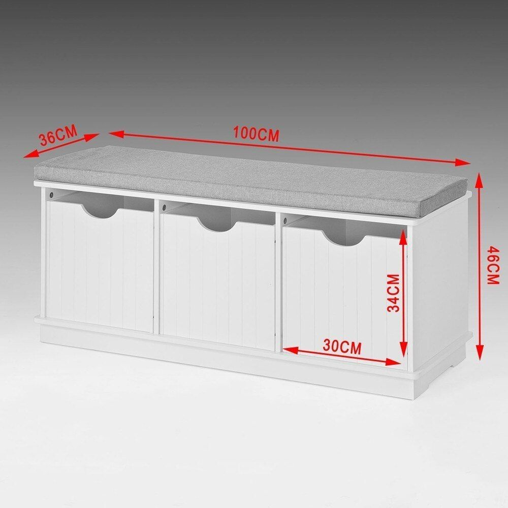 Wooden Storage Bench 3 Drawers & Removable Seat Cushion Storage Cabinet Unit SoBuy FSR30-W #meubleachaussuresentree