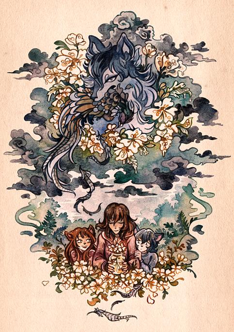 Wolf Children Print From Cryptostore Los Ninos Lobo Dibujos Pinturas