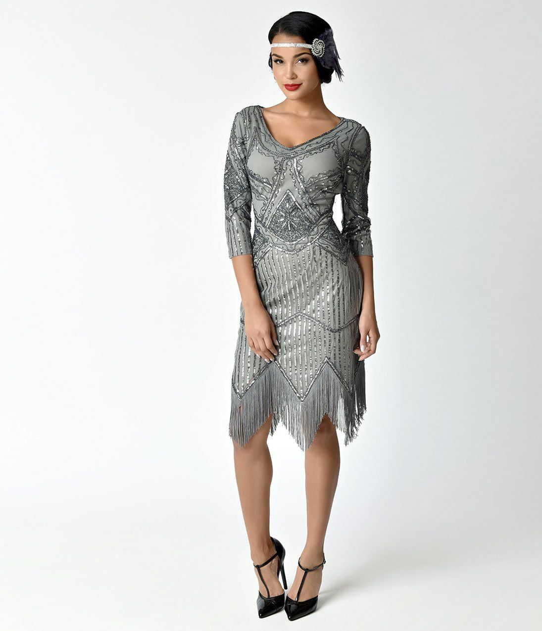 39bc3045f89 1920s Outfit Ideas  10 Downton Abbey Inspired Costumes Unique Vintage 1920s  Grey Beaded Sequin Sleeved Noemie Fringe Flapper Dress  98.00 AT  vintagedancer. ...