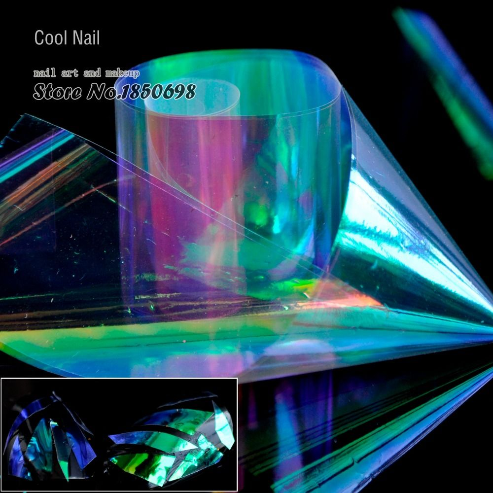 1 Roll Brillante Láser Láminas de Uñas Nail Art Láminas Holográficas ...