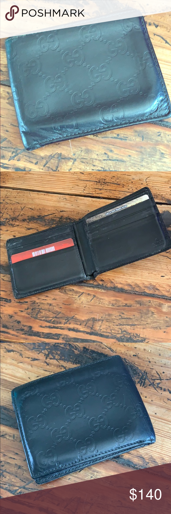 800d110db761be Gucci Signature Men's Wallet Good condition. Black leather with embossed GG  design. 6 credit card slots and double section bill fold. 100% authentic.