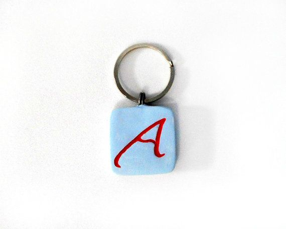 Atheist Symbol Key Ring Inlaid Red A Scarlet Letter On Light Blue