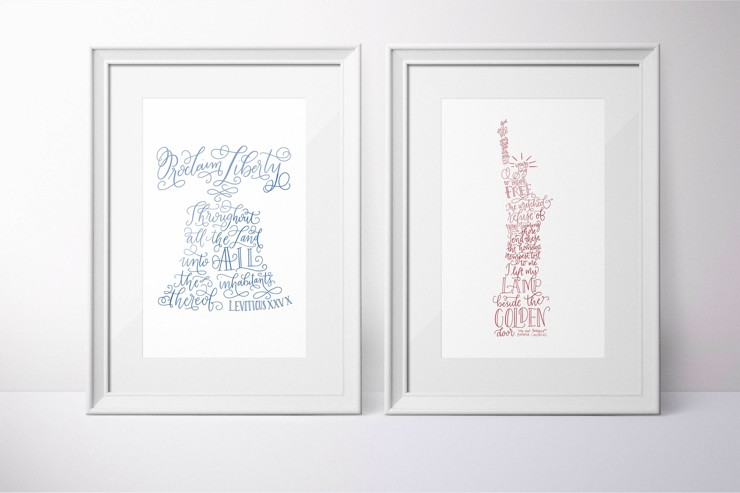 Statue Of Liberty And Liberty Bell Printable Handlettering Calligraphy Fourth Of July Home