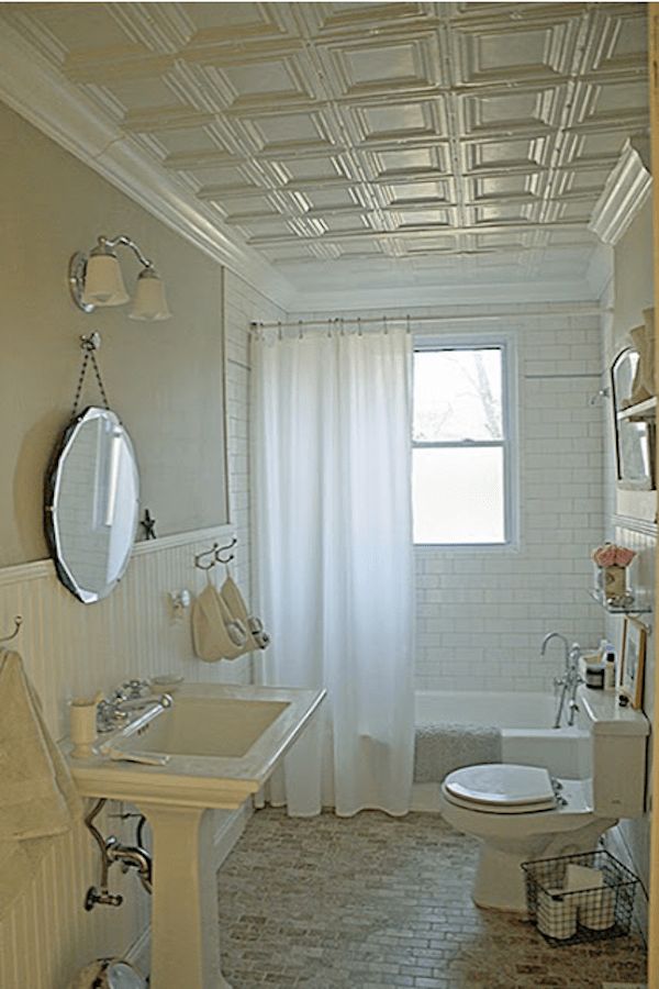 Decorative Square Ceiling Tiles In Classic Bathroom Tin Ceiling Bathroom Inspiration Bathroom Ceiling