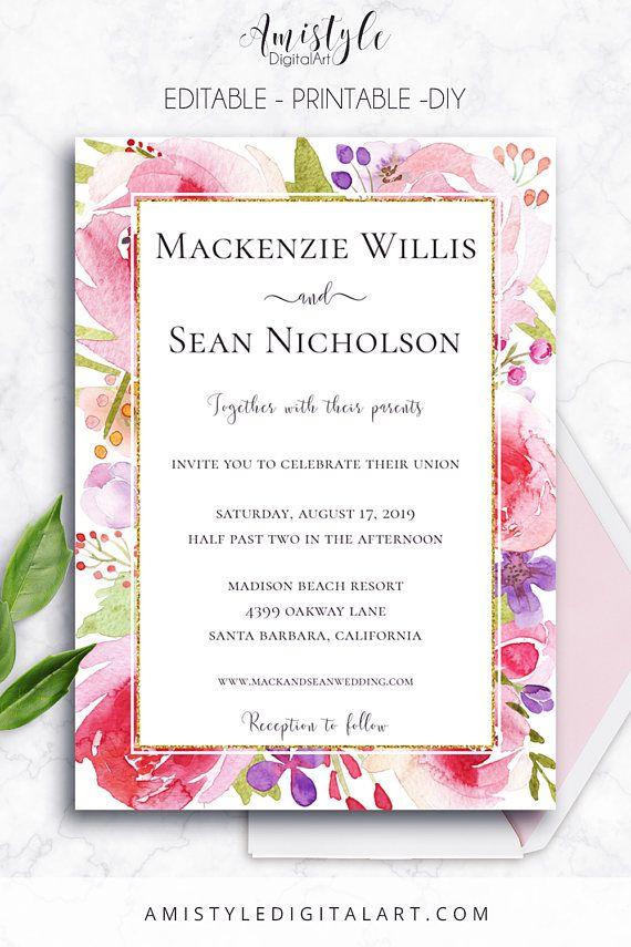 Printable Wedding Invitation, Botanical,Floral Invitation, Editable ...