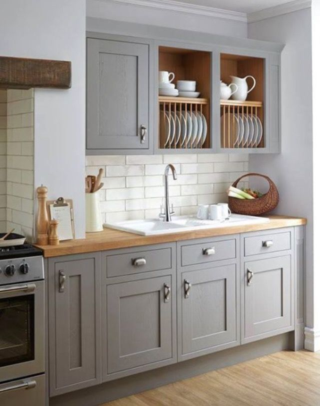 Taupe Lower Kitchen Cabinet Color With Open Weathered Wood Scheme Up Top