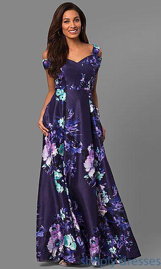 Floral Print Long Purple Formal Dress With Pockets Dresses