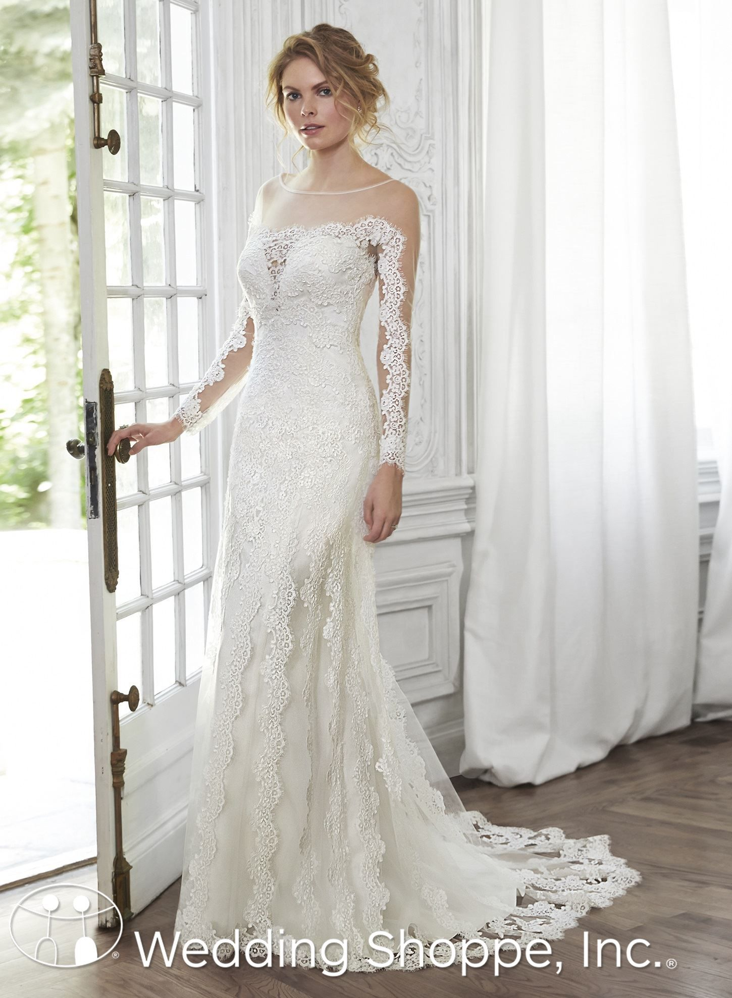 fdefa38354f Maggie Sottero - inga- Corded embroidered lace appliqués lay atop illusion  sleeves and a bateau neckline in this sheath gown
