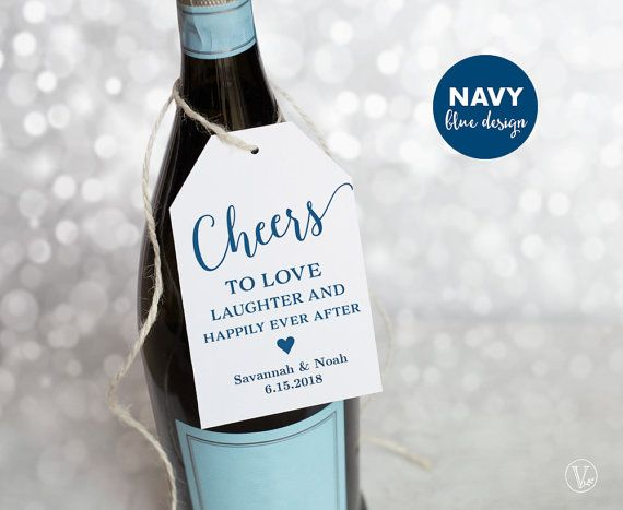 Navy Blue Wine Tags Printable Wedding Favor Tags Template Cheers