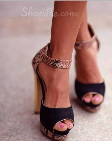 #Fashionable Serpentine #Black Suede High #Heel #Sandals from Shoespie.com