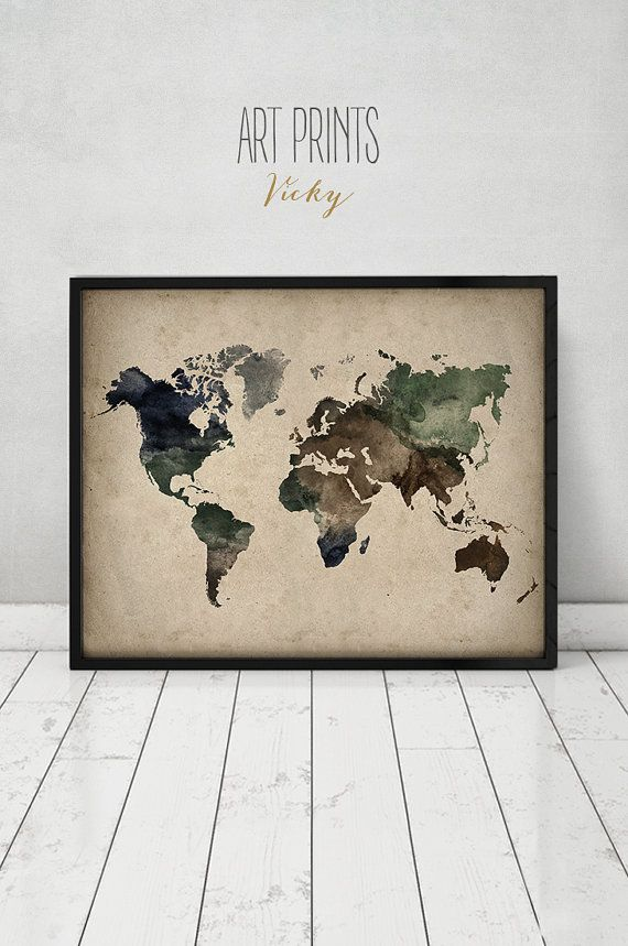Travel map art print poster world map watercolor print large travel map poster world map watercolor print by artprintsvicky gumiabroncs Image collections