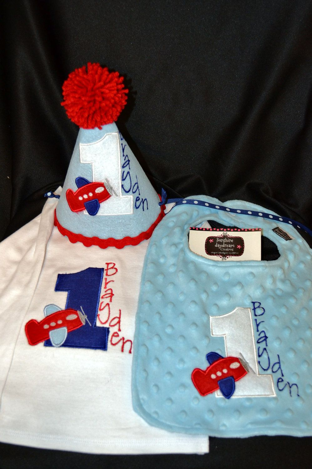 1st Birthday Shirt Hat And Bib Combo Set Airplane Theme Or Have Me Create A In Your Colors 6995 Via Etsy