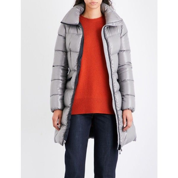 Moncler Jasminum longline quilted down jacket ($910) ❤ liked on Polyvore featuring outerwear,