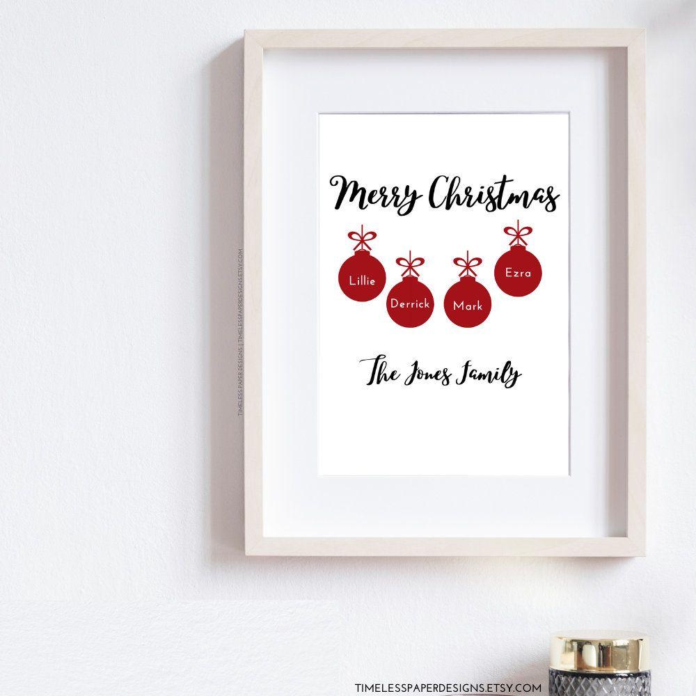 Personalised Family Christmas Print Custom Wall Art Festive Home Gift Presents For Families From Grandmot In 2020 Christmas Prints Custom Wall Art Family Christmas