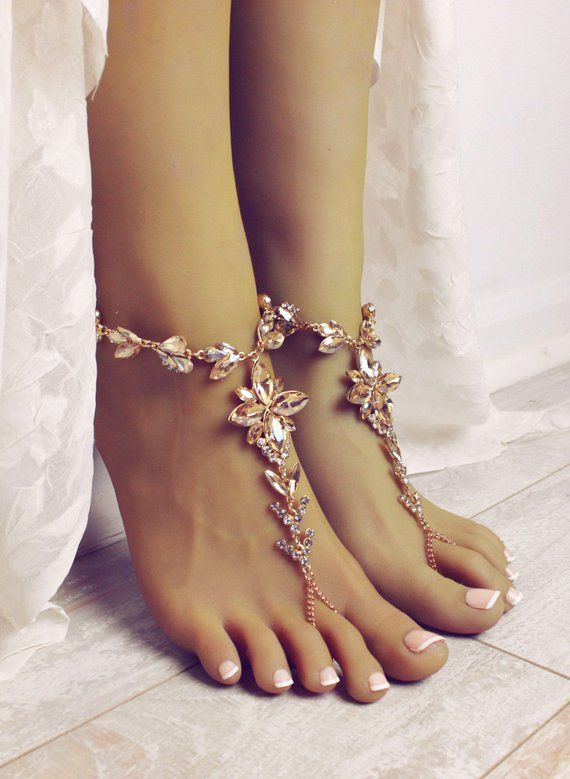 6208212b3ff94a Jasmine Barefoot Sandals Gold Foot Jewelry Bridal Sandals Shoes for Bride  Champagne Anklet Foot Thon