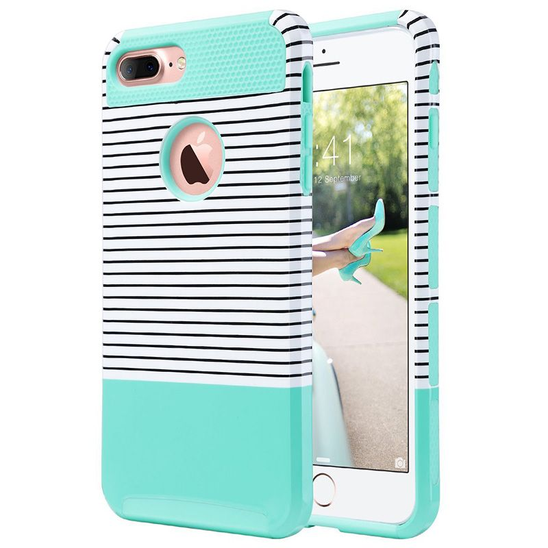 For iPhone 7 Plus Case Stripes Series Slim Hybrid Dual Layer Scratch Resistant Hard Back Cover Shock Absorbent TPU Bumper Case