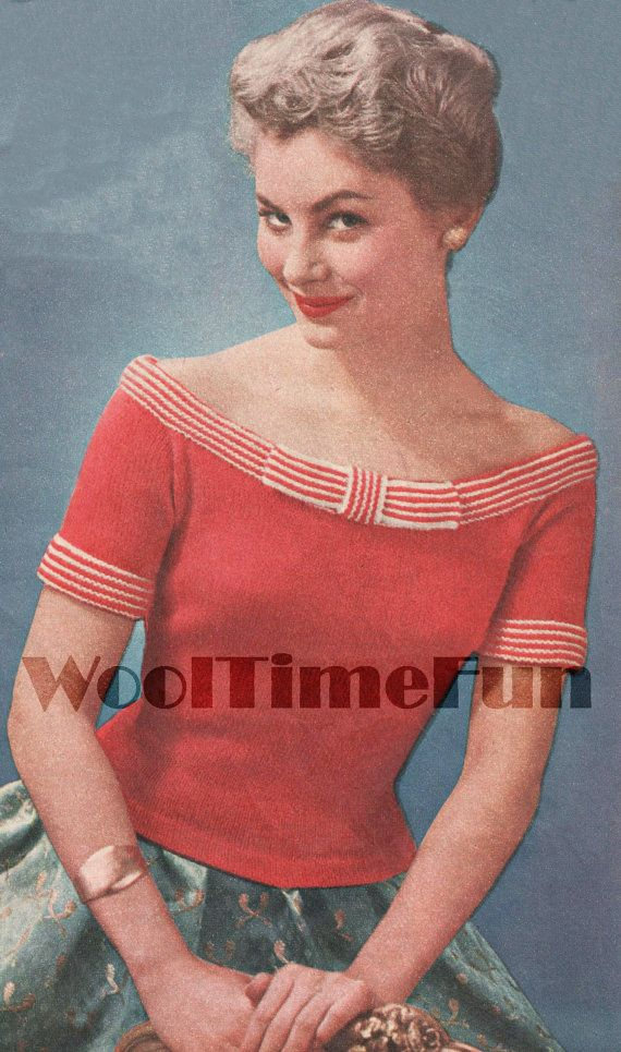 Vintage Knitting Pattern Lady/'s 1950s Glamour Off-Shoulder Evening Top//Jumper.