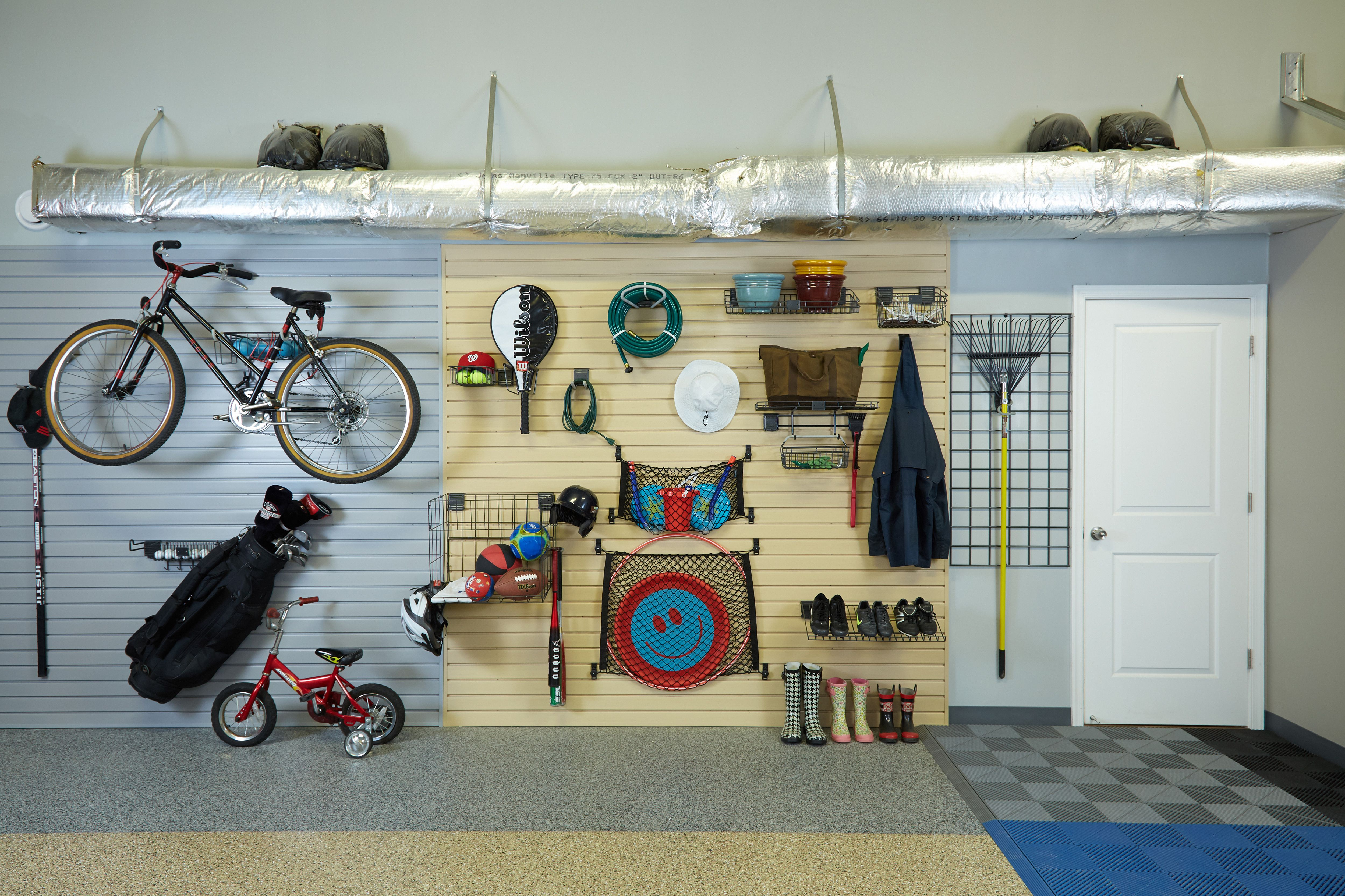 Garage Gadgets keep sporting goods grouped togetherutilizing bike hoists