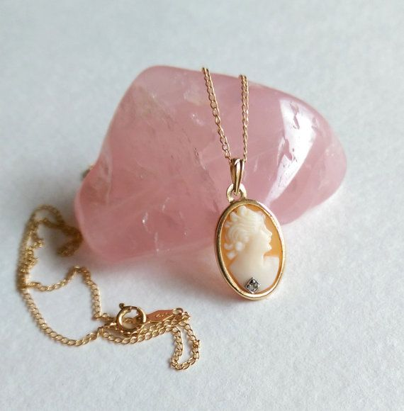 14k gold shell cameo necklace with diamond antique habille hand 14k gold shell cameo necklace with diamond by 55thavenuevintage aloadofball Choice Image