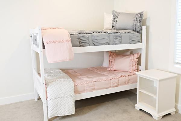 Chic Gray (Minky) - For Bunk Beds