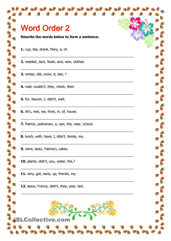worksheet Word Order Worksheets word order pinterest words and printables 2 worksheet free esl printable worksheets made by teachers