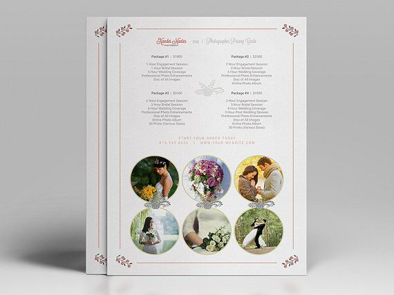 Wedding Photographer Pricing Guide / Price Sheet List 5x7- Photoshop - Price Sheet Template