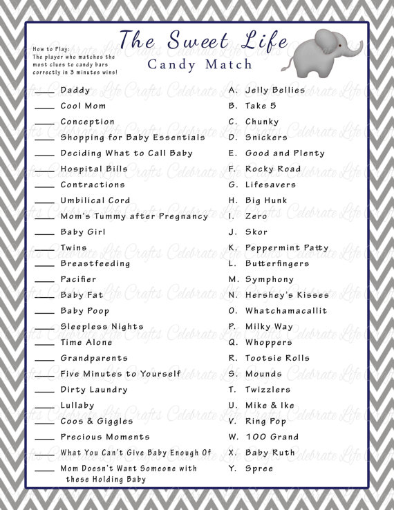 Baby Shower Games Printable With Answers Google Search Baby