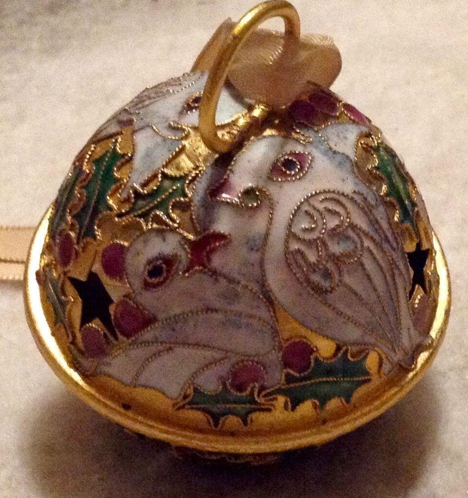 Vintage Cloisonné Jingle Bell Christmas Ornament White