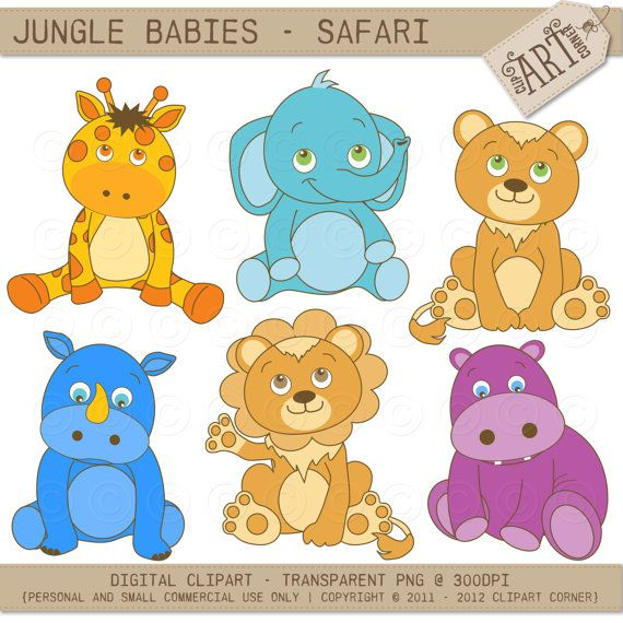 Safari Animals Clipart Jungle Giraffe Snake Parrots Monkey Rhino Lion Zebra Commercial Use Vector Clip Art Svg Png With Images Animal Clipart Cartoon Animals Cute Animals With Funny Captions