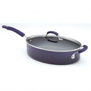Rachael Ray Hard Enamel 5-Quart Covered Saute Pan with Helper Handle