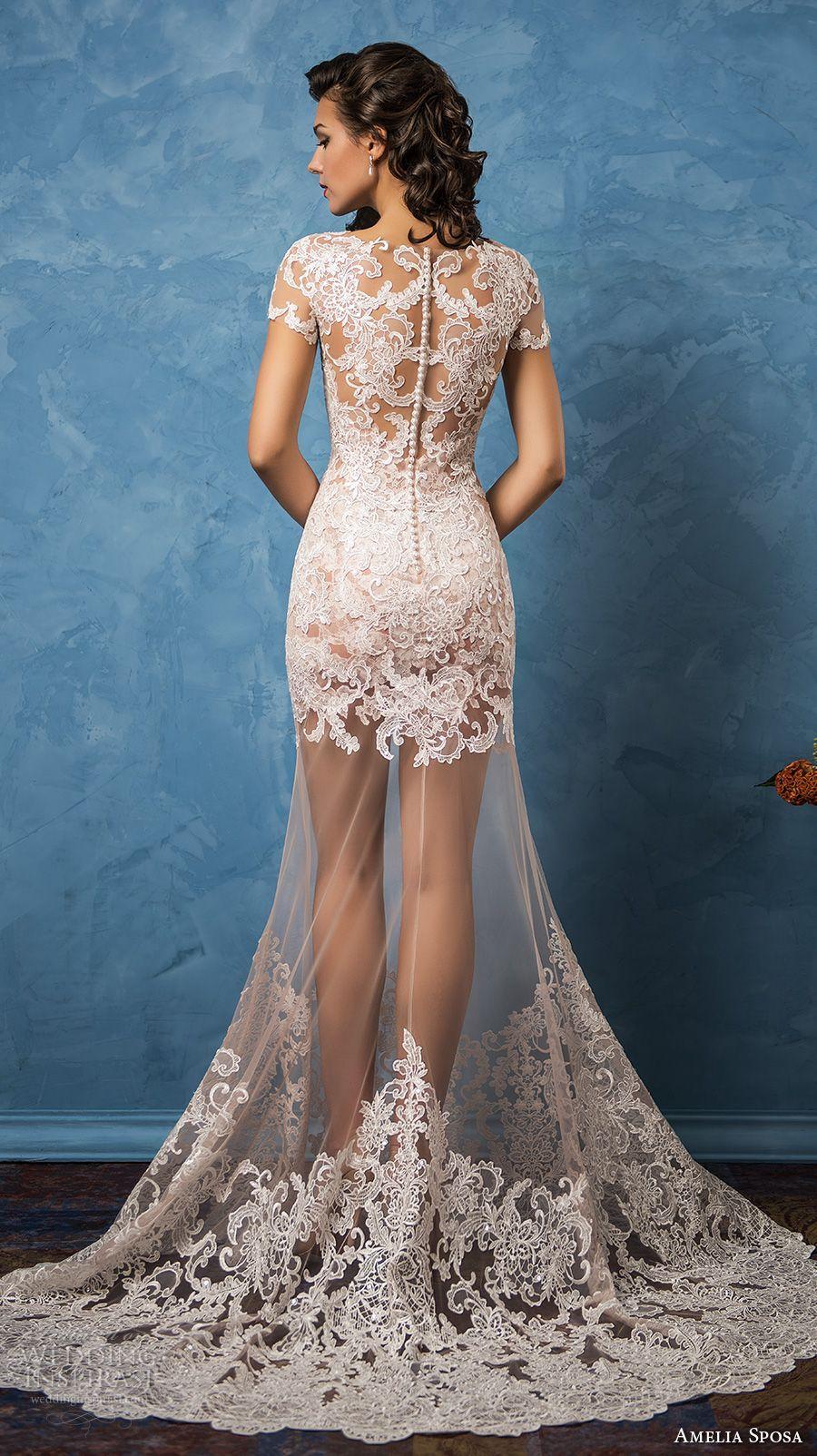 Elegant short wedding dresses  amelia sposa  bridal short sleeves illusion bateau sweetheart