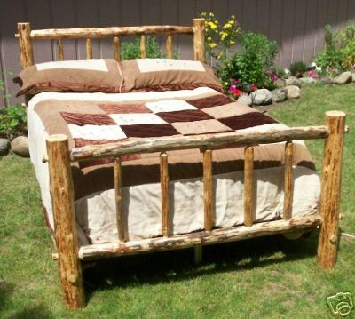 King Size Complete Rustic Standard Style Pine Log Bed Frame Free Shipping 499 00 Via Etsy Log Bed Frame