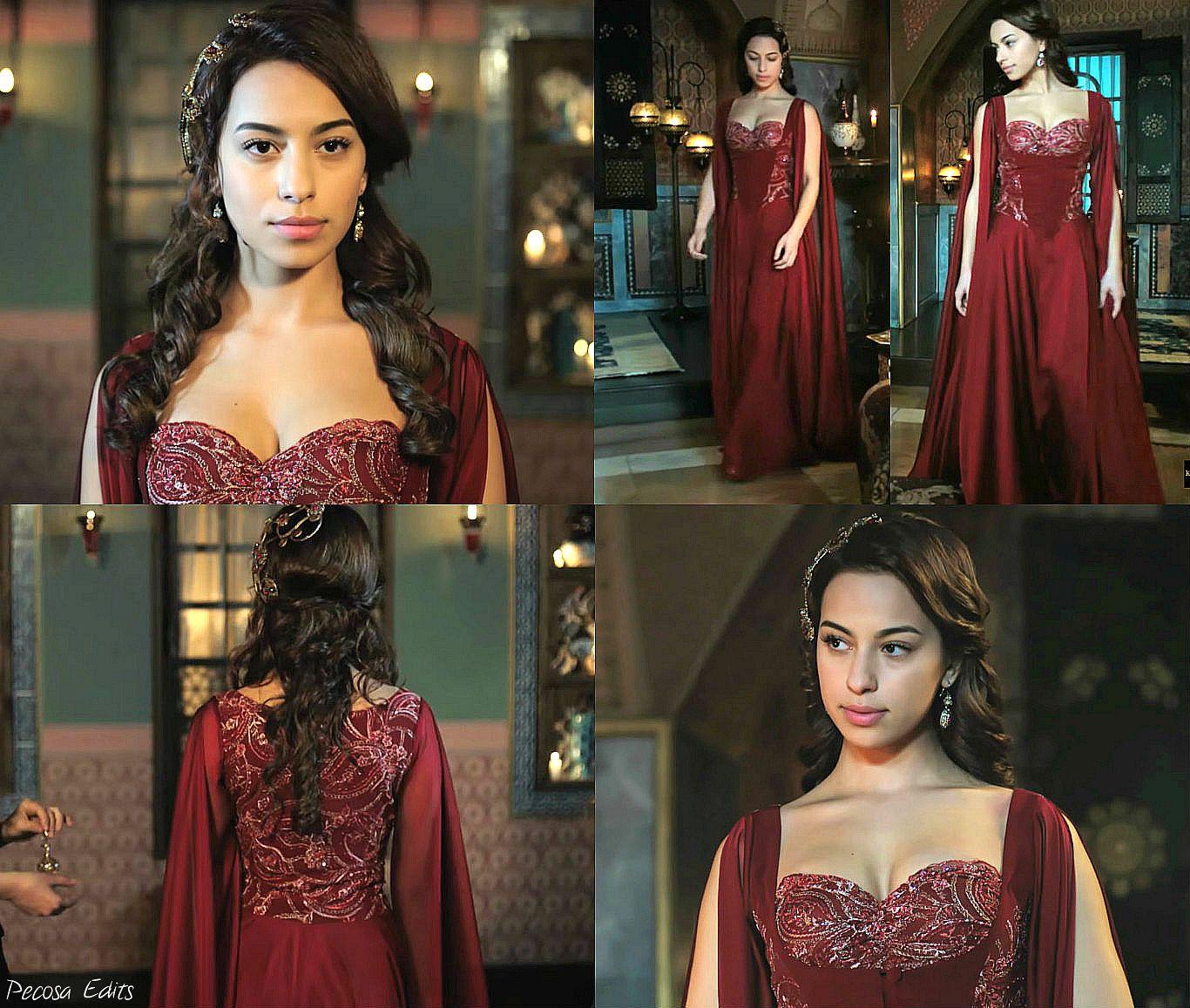 muhtesem yuzyil kosem, magnificent century kosem, yasemine hatun, crimson dress, red dress