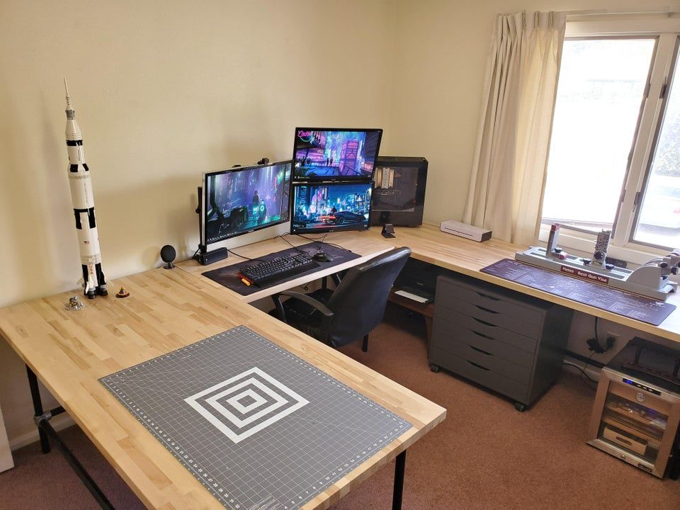 New U Shaped Desk For The Battlestation Battlestations Desk Bedroom Workspace Home Office Layouts