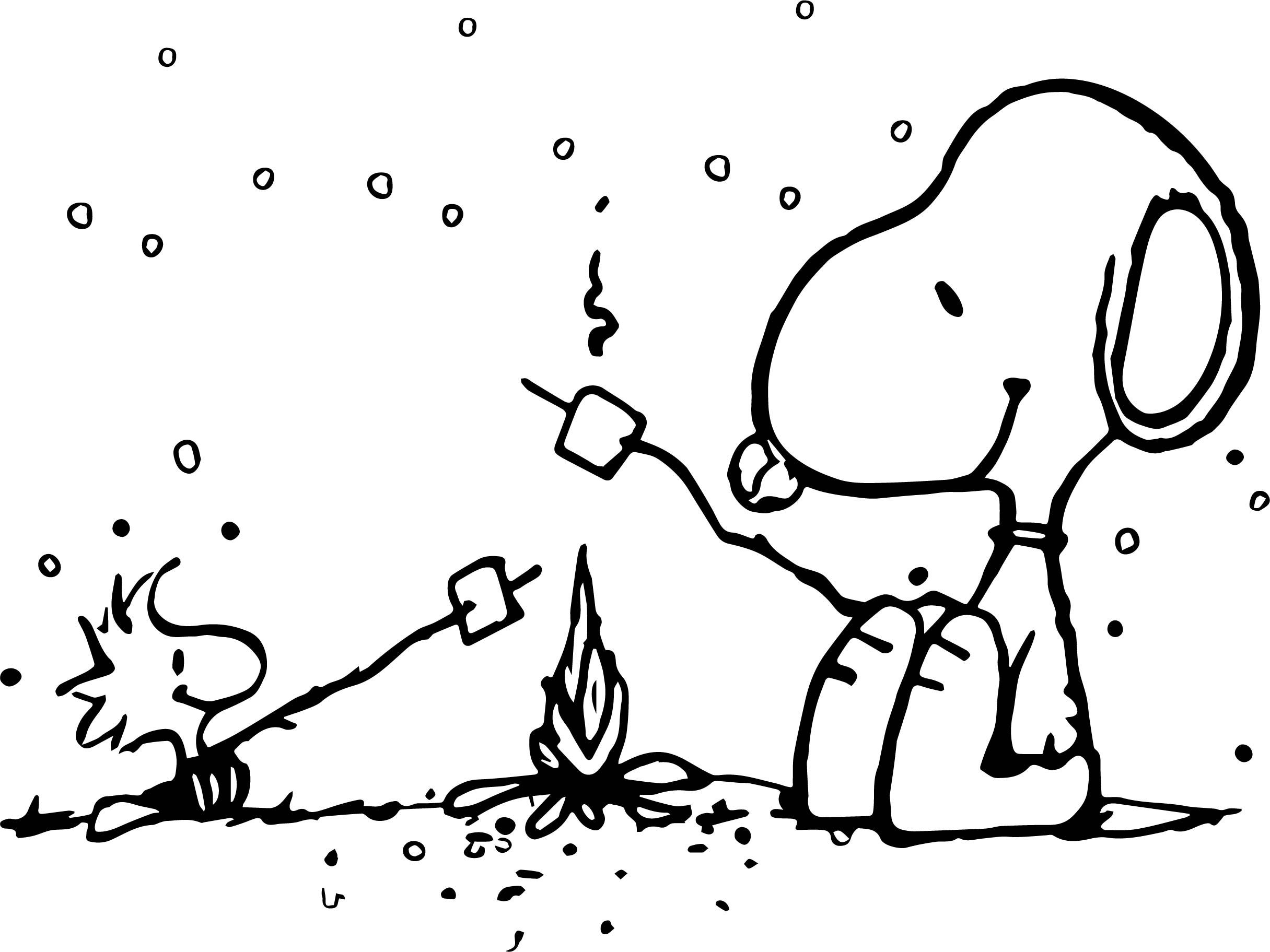 Awesome Snoopy And Woodstock Camping Coloring Page Snoopy