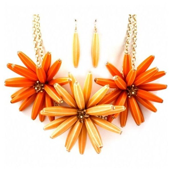 Isla's Chunky Peach and Orange Cluster Flower Necklace Set ($57) ❤ liked on Polyvore
