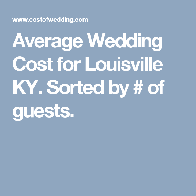Average Wedding Cost For Louisville KY. Sorted By # Of