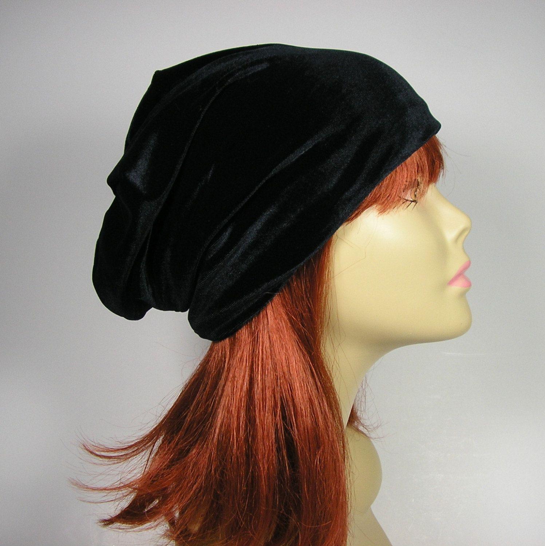 b952d1385ce4 FREE SHIPPING Glam Goth Boho Velvet Beanie Black Velvet Slouchy Beanie Hair  Loss Turban Chemo Cap Black Velvet Hat Womans Glam Slouch Hat by  LooptheLoop on ...