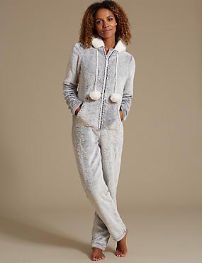 Long Sleeve Fleece Hooded Onesie  4073c7bee