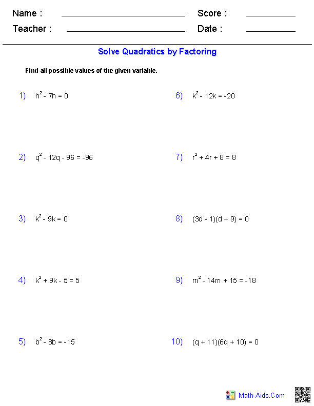 Solving Quadratic Equations By Factoring Math Aids Com Algebra