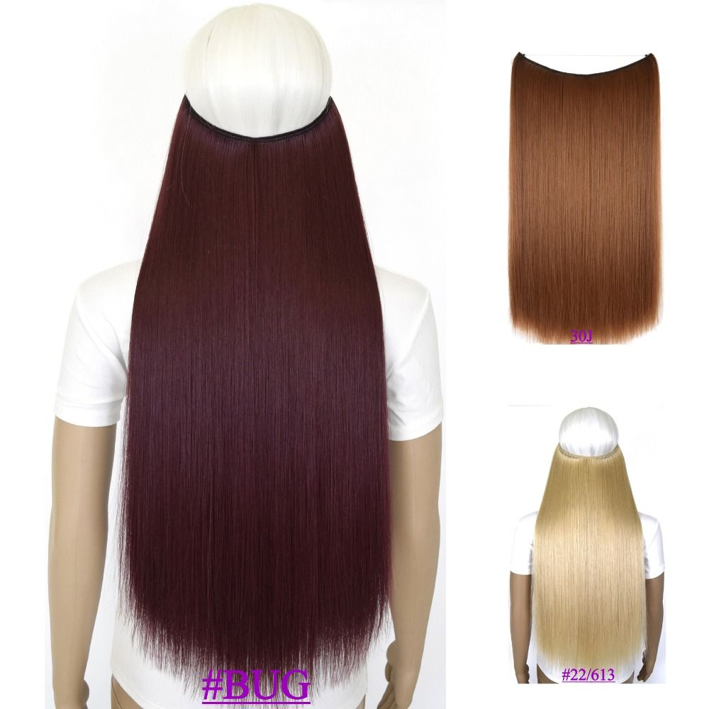 24 60cm 100g Straight Mircale Wire Hair Extension Hairpiece Hair