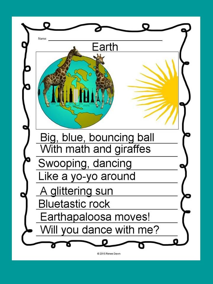 Poetry Writing: Kids create free verse poems that are breath-taking display pieces. Creative, divergent thinking pops off the page. Complete writer's workshop lessons—16 in all—will build poetry step-by-step. Lists, charts and examples support each lesson. For K - 5; Earth with Giraffes.
