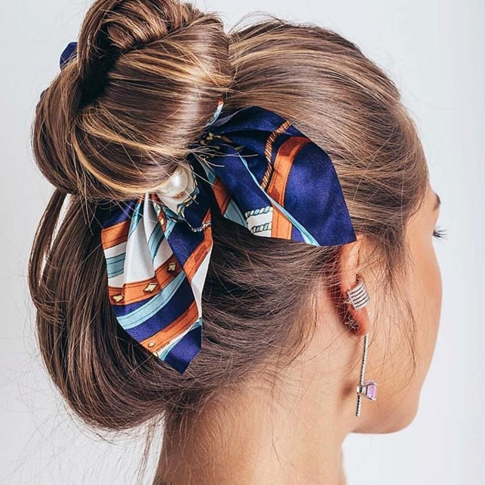 Chiffon Bowknot Silk Hair Scrunchies In 2020 Hair Band For Girl Scrunchie Hairstyles Silk Hair