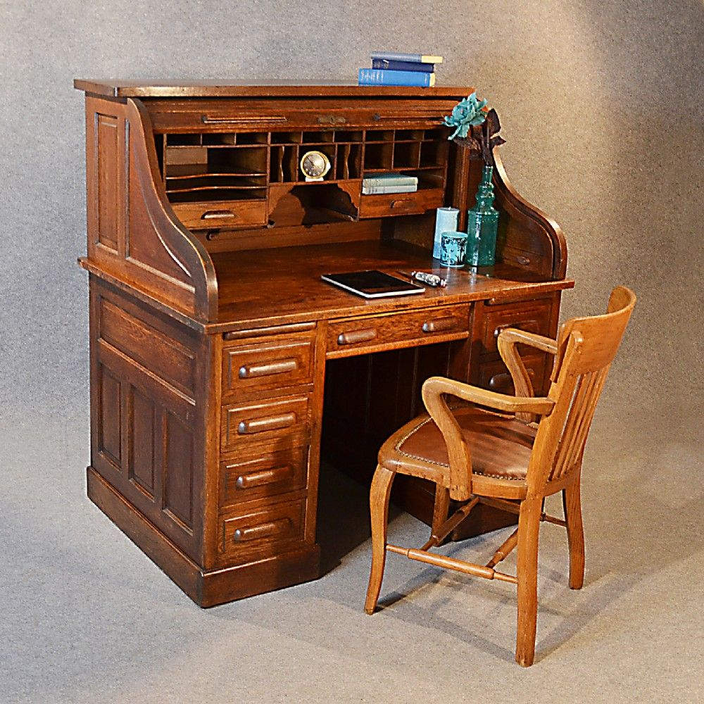 Antique Roll Top Writing Bureau Desk Oak by SuchGorgeousThings, - Roll Top Writing Desk-SR Office Furniture Pinterest Writing
