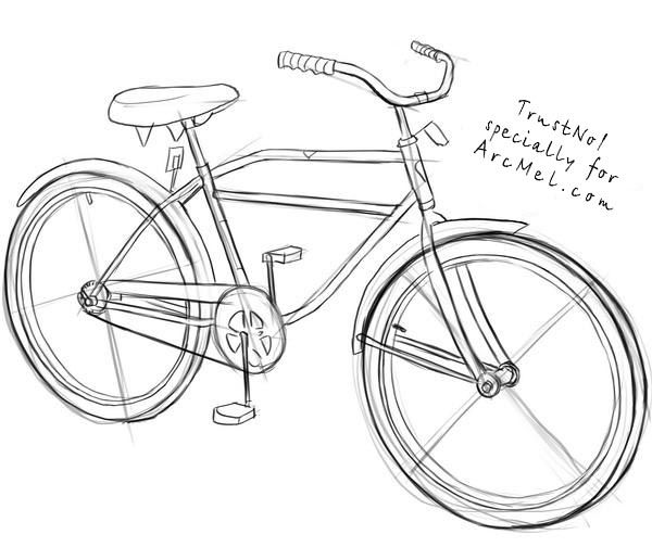 How To Draw A Bike Step 4 Bike Drawing Bicycle Drawing Bicycle Art