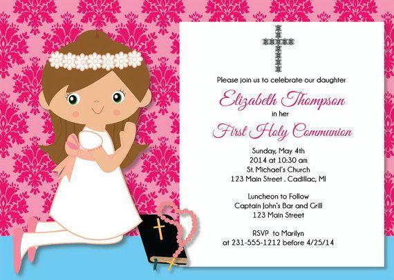 Hot Pink First Communion Invitation - Damask Girl First Communion - invitation templates holy communion