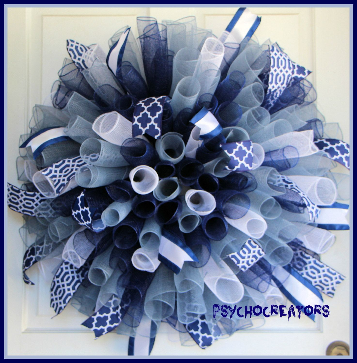 Navy Blue White Silver Mesh Wreath Dallas Cowboys Curly Spiral