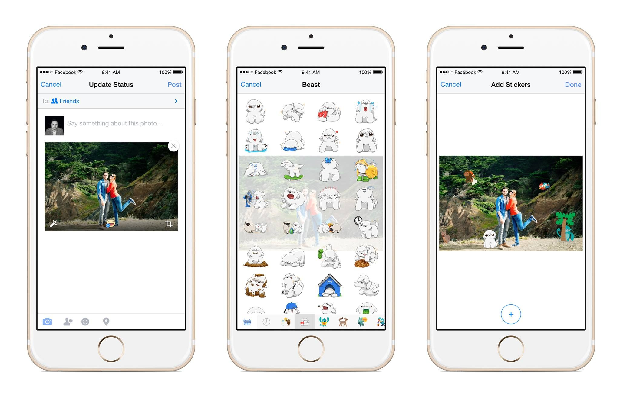 Facebook เปิดให้แต่งภาพด้วยสติ๊กเกอร์ก่อนอัพโหลดบน iOS และ Android แล้ว