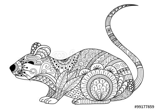 Vector: Hand drawn zentangle mouse for coloring book for