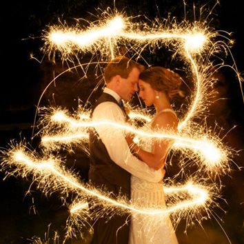The bride can take her hidden Harry Potter wand from inside her bouquet and swirl sparkles around them.